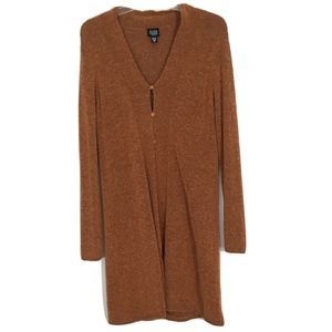 EILEEN FISHER L Wool Button Open Cardigan Sweater